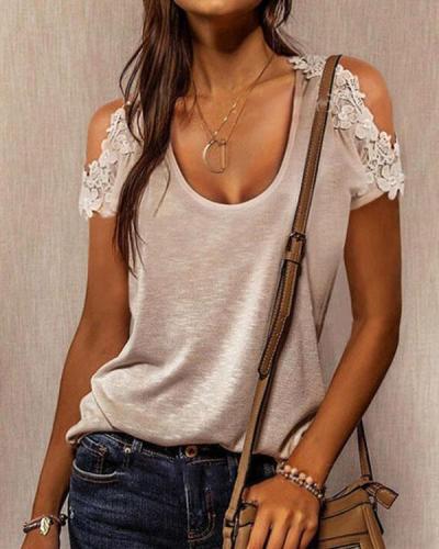 Cold Shoulder Lace Flower Solid U Neck Shirt&Top