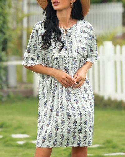 Round Neck Pastoral Small Fresh Floral Dress