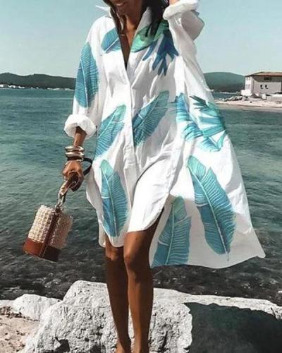 New Summer Women V Neck Button Dress