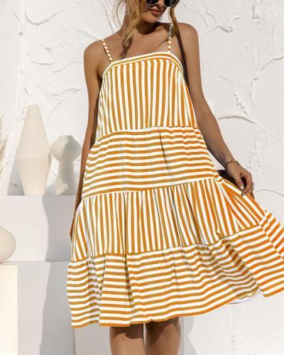 Sling Stripe Stitching Dress