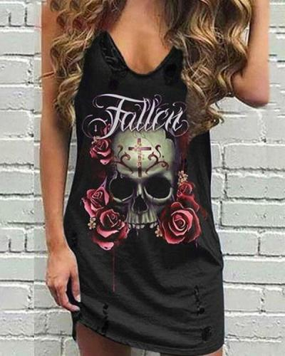 Personalized V-neck Skull&Rose Sleeveless Mini Dress