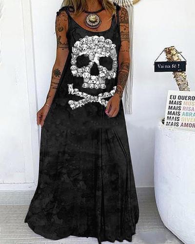 Skull Print Lace up Spaghetti-Strap Sexy Maxi Dress