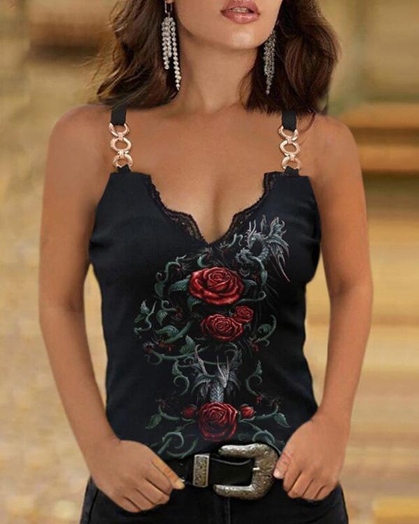 Rose Floral Print Women's Casual Slim Fit Vest