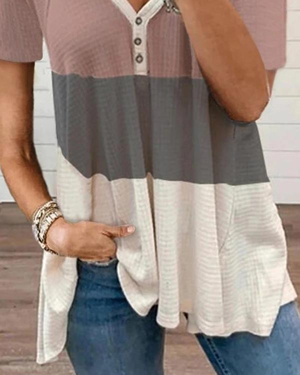 Summer New Color Matching Placket Buttoned T-shirt