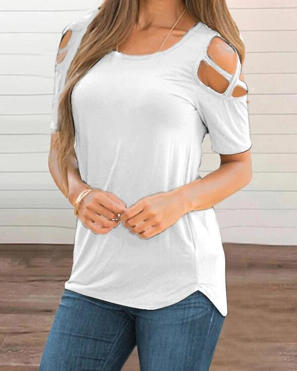 Women's sexy V-neck short-sleeved solid color T-shirt