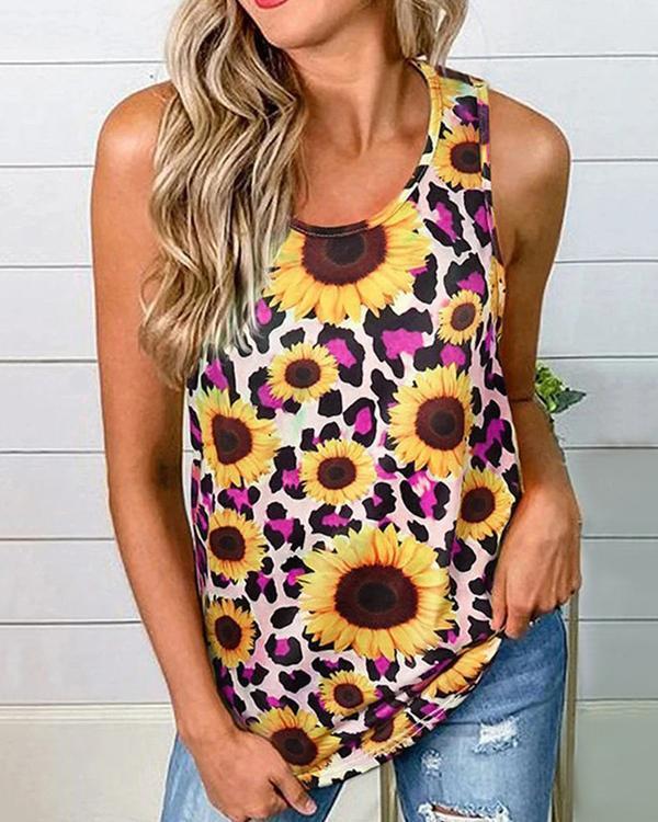 Sleeveless Floral-Print Sunflower Shirts & Tops