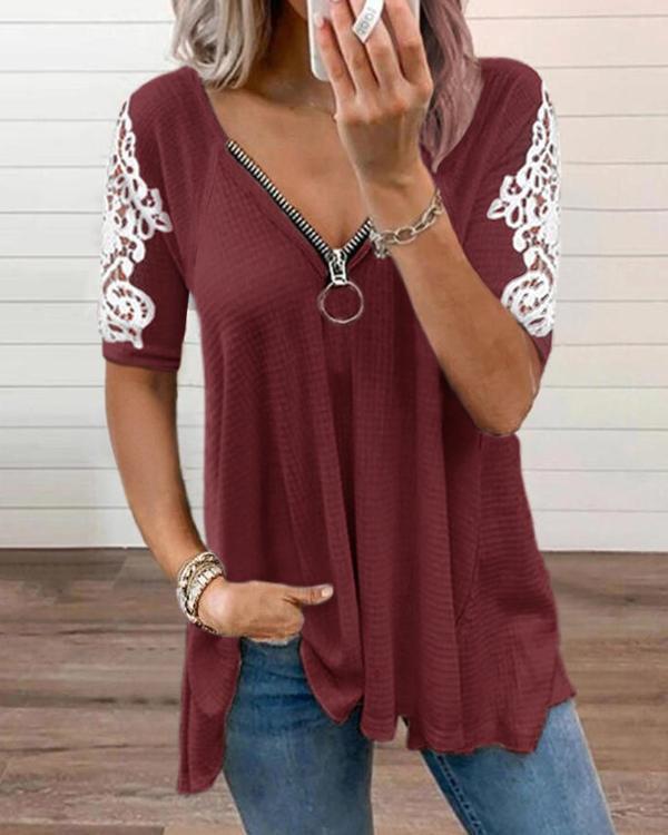 Women's Lace Zipper V-neck T-shirt