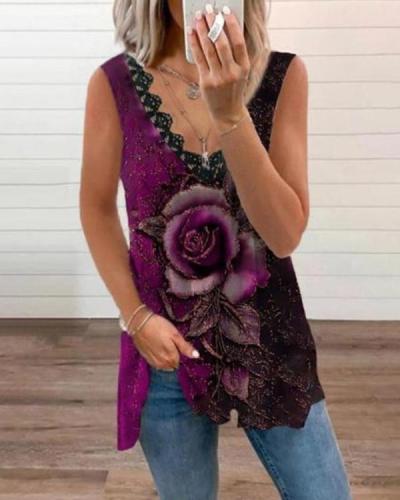 Retro Casual Print Loose Vest Designer