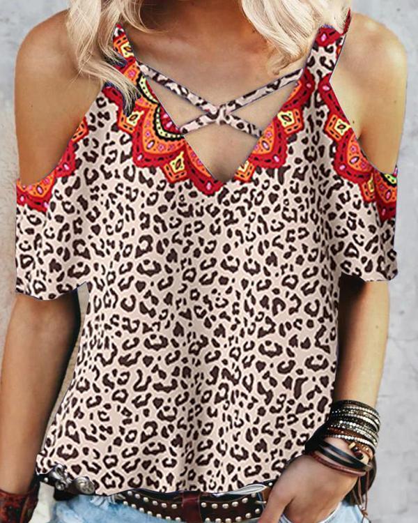 Leopard Mandala Print Cold Shoulder T-shirt