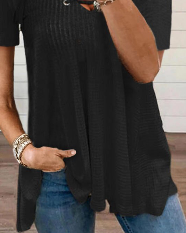 2021 Summer New V-neck Tie Solid Color T-shirt
