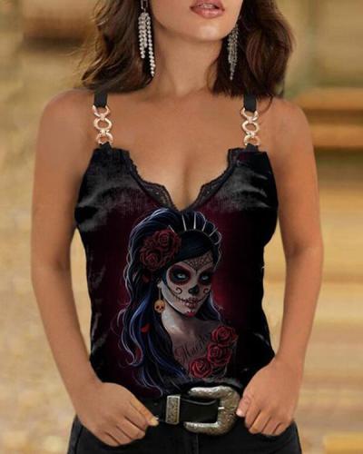 Skull Print Sexy Vest Designer