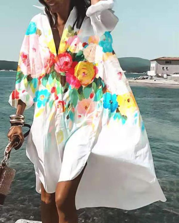 Summer Women Loose V Neck Button Dress