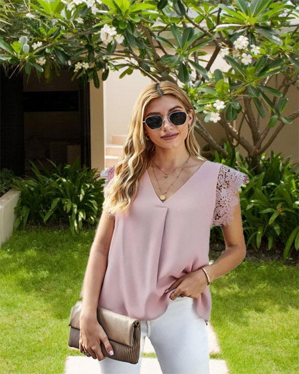 Lace Stitching V-neck Fashion Ladies Sleeveless Top