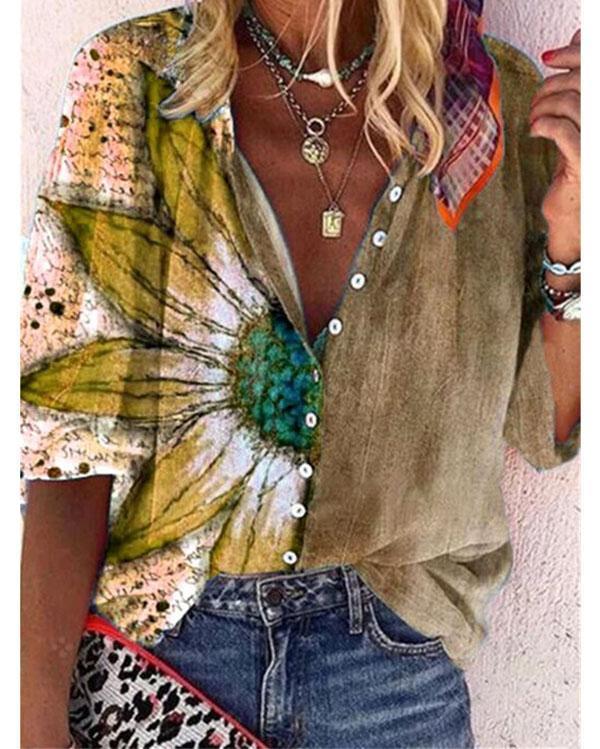 Women's Casual V-Neckline Half Sleeve Blouses