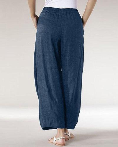 Casual Solid Patchwork Wide Leg  Linen Pants