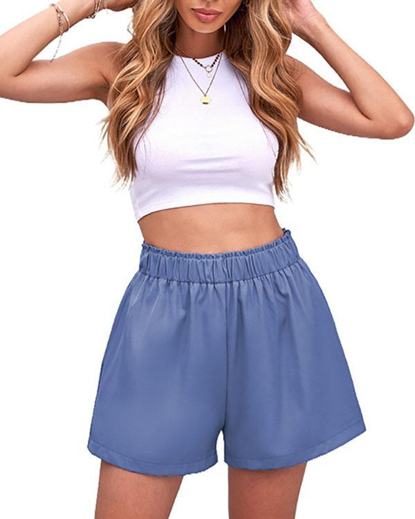 Pure Color Pleated Pocket Ladies Casual Pants