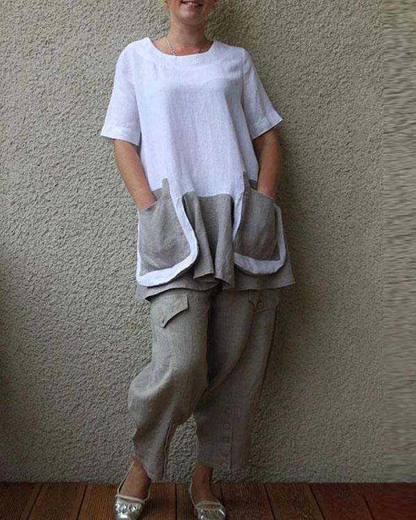 Cotton And Linen Short Sleeve Big Pocket Women's Suit
