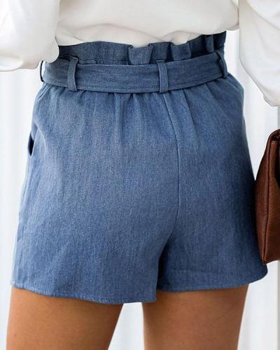 Ruffled High-waist Lace-up Shorts
