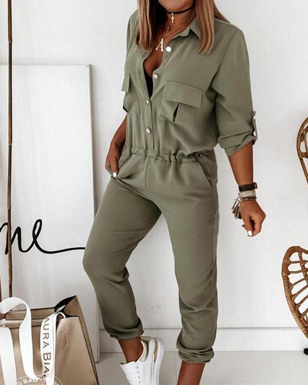 Shirt Collar Half-Sleeved Single-Breasted Pockets Cargo Jumpsuit