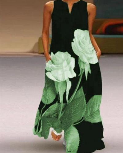 Fashion V-neck Print Dress