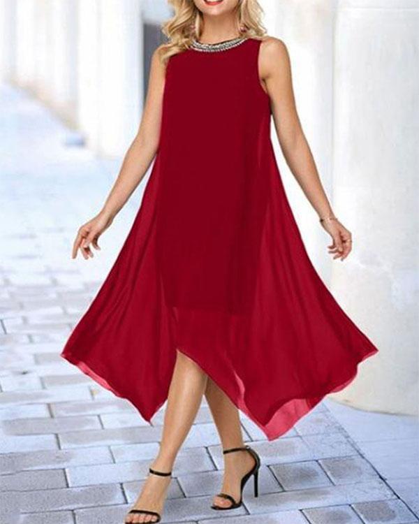 Sequin Collar Solid Color Big Swing Dress