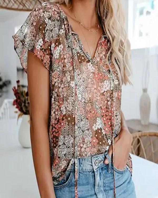Summer Butterfly Sleeve Floral Print Women Blouse