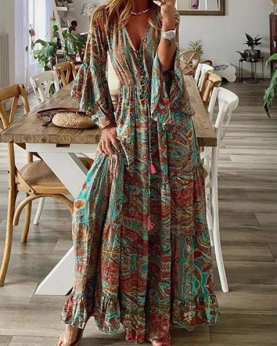 Bohemian 3/4 Sleeve Button V Neck Flare Sleeve Maxi Dress