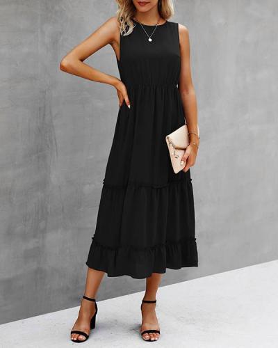 Solid Color Pleated Sleeveless Midi Dress