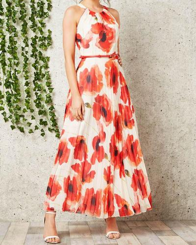 Red Poppy Pleat Maxi Dress