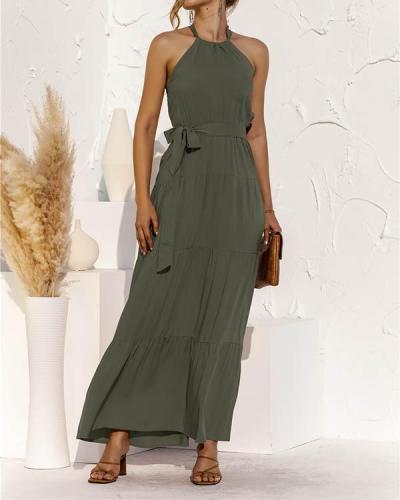 Lace-up Halter Stitching Maxi Dress