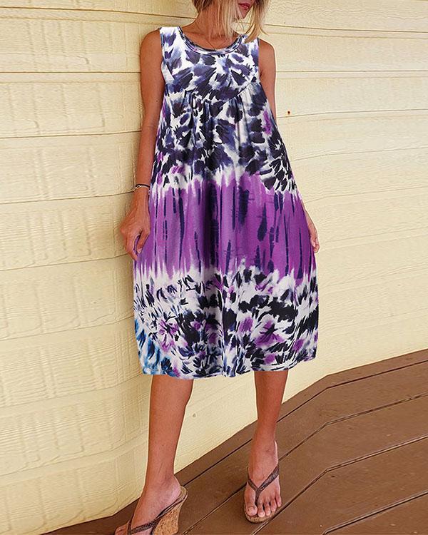 Ancient Tie-dye Floral Sleeveless Suspender Dress