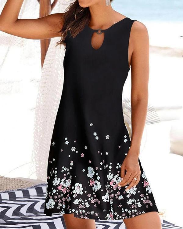 Printed V-neck Women's Sleeveless Dress