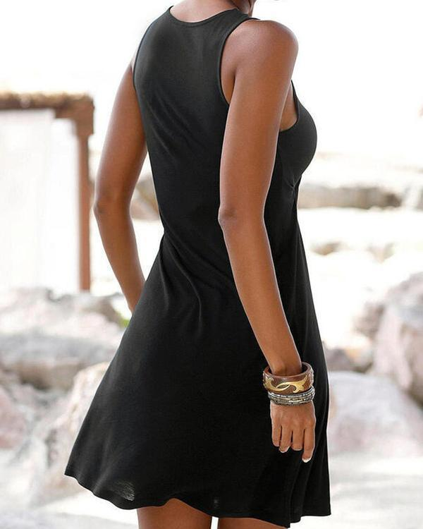 Anchor Printed V-neck Women's Sleeveless Dress