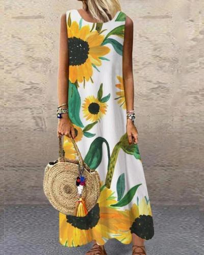 Flower Printed Sleeveless O-neck Casual Dress