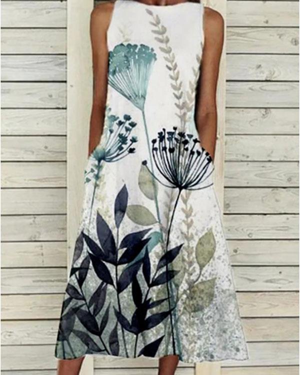 Ladies Fashion Sleeveless Round Neck Printed Maxi Dress