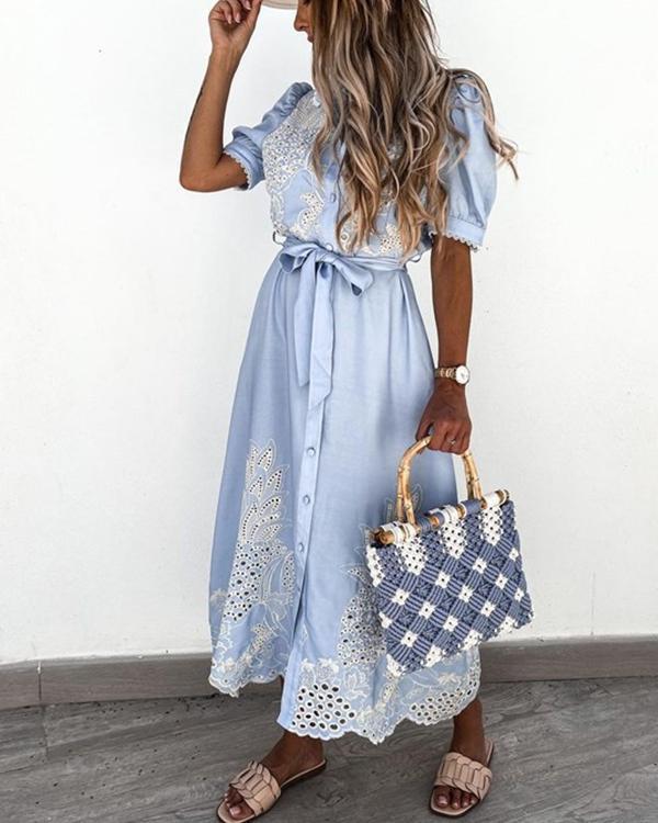 Summer Short-Sleeved Shirt Dress