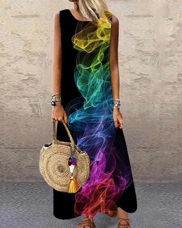 Printed Sleeveless O-neck Casual Dress