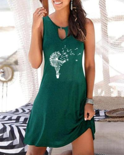 Dandelion Printed V-neck Women's Sleeveless Dress