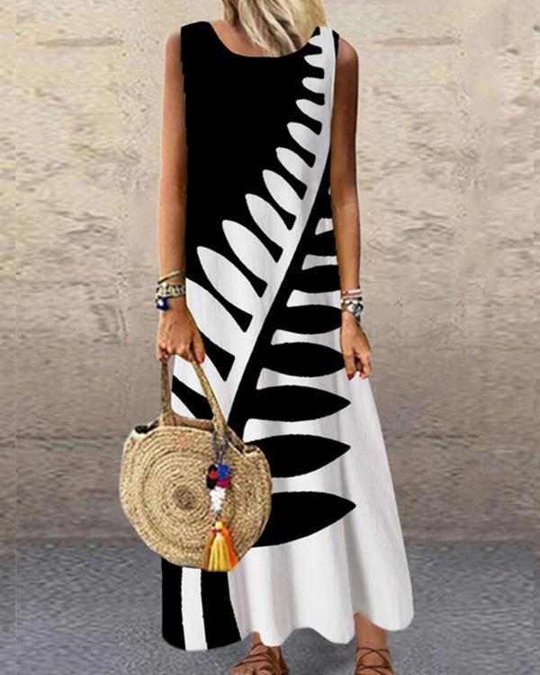 Geometric Printed Sleeveless O-neck Casual Dress