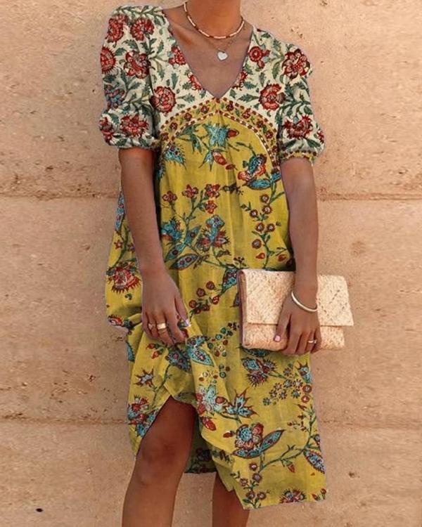 Vintage Boho Holiday Casual Half Sleeve Shift Casual Dresses