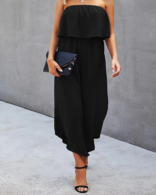 Casual Solid Split Joint Strapless Straight Jumpsuits