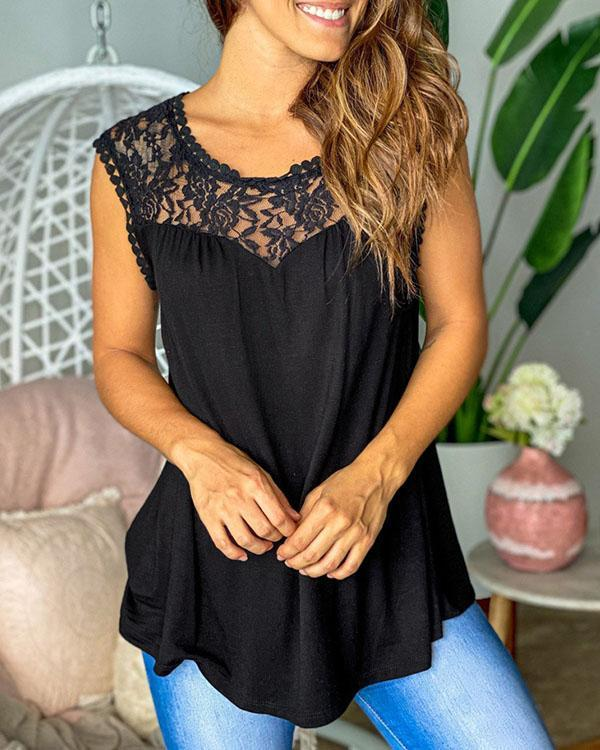 Floral Lace Mesh Patchwork Tank Tops Sleeveless Blouse
