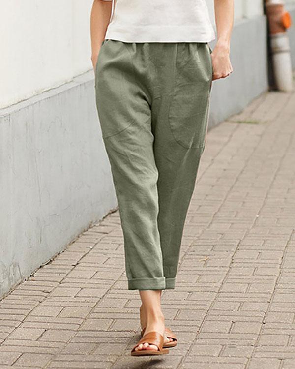 Casual Solid Pocket Elastic Waist Linen Pants