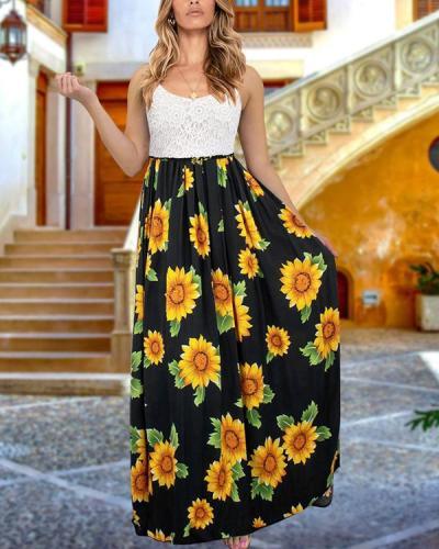 Bohemia Sleeveless Holiday Floral Maxi Dresses