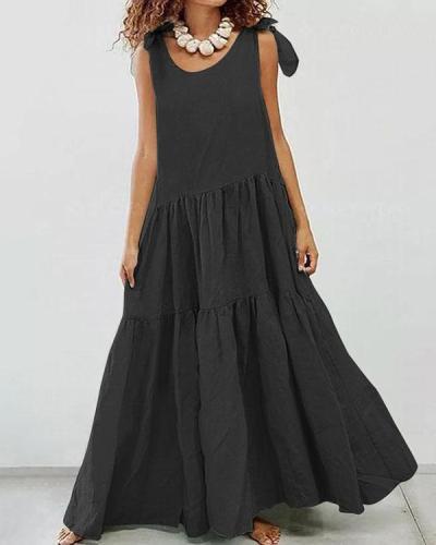 Sling Strap Solid Color Maxi Dress