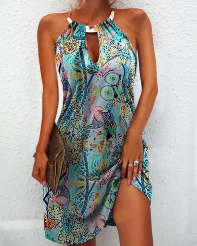 Vintage Printed Sleeveless Crew Neck Dresses