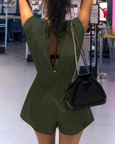Fashion Pocket V Neck Casual Elastic Waist Rompers