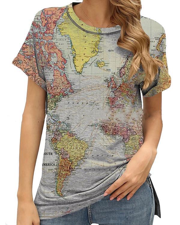 Retro Geometric Pattern Round Neck Casual T-shirt
