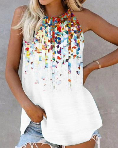 Floral Print Vest Halter Neck Sleeveless Shirt&Top