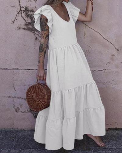 Summer Sleeveless Maxi Sundress Gown V Neck